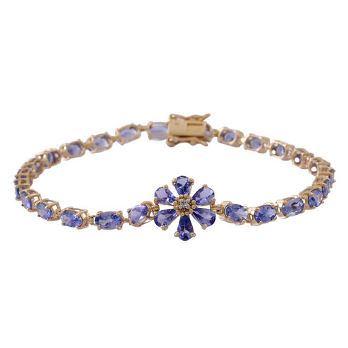 9K Y Gold AA Tanzanite (Ovl), Diamond Floral Bracelet (Size 7.5) 7.000 Ct.
