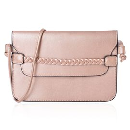 Rose Gold Colour Crossbody Bag with Shoulder Strap (Size 25x17 Cm)