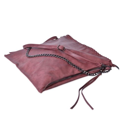 Pink Colour Shoulder Bag with Adjustable and Removable Strap (Size 38x37 Cm)