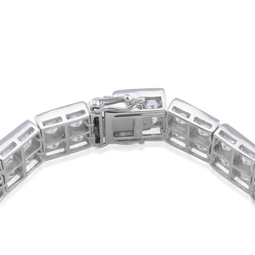 J Francis - Platinum Overlay Sterling Silver (Sqr) Bracelet Made with SWAROVSKI ZIRCONIA (Size 7.5) 48.280 Ct.