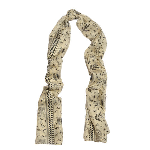 100% Mulberry Silk Black Colour Printed Cream Colour Scarf (Size 180x100 Cm)