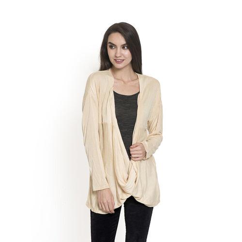 Beige Colour Long Neck Pattern Cardigan (Size Medium / Large)