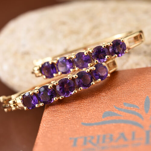 Amethyst 2.50 Ct Sterling Silver Hoop Earrings (with Clasp) in 14K Gold Overlay