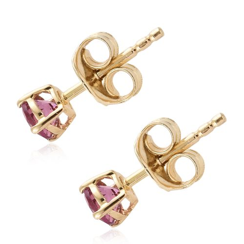 9K Yellow Gold 0.50 Carat AA Pink Tourmaline (Rnd) Stud Earrings (with Push Back)