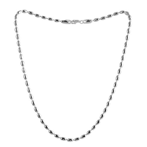 Close Out Deal Sterling Silver Oval Beads Chain (Size 18), Silver wt 19.70 Gms.