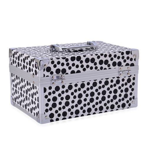 Black Dot Pattern 2 Layer Jewellery Box with Coded Lock and Mirror inside (Size 25x14 Cm)