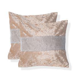 Set of 2 - Beige Colour Crush Velvet Cushion Cover (Size 42x42 Cm)