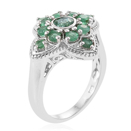 Kagem Zambian Emerald (Rnd) Ring in Platinum Overlay Sterling Silver 1.50 Ct.