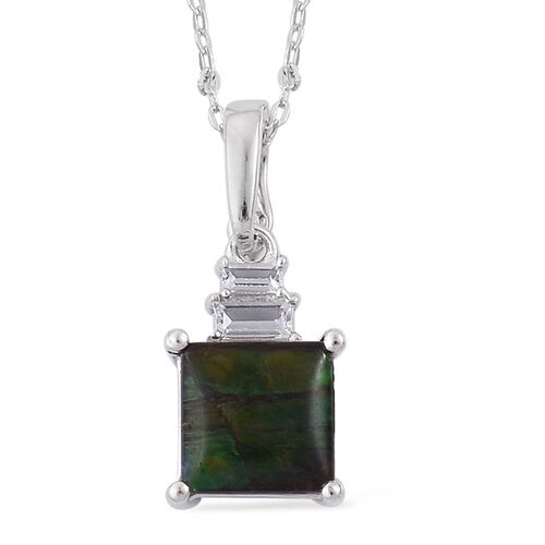Canadian Ammolite (Sqr 1.90 Ct), White Topaz Pendant With Chain in Rhodium Plated Sterling Silver 2.050 Ct.