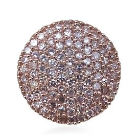 9K Rose Gold 0.50 Carat Natural Pink Diamond Cluster Disc Pendant