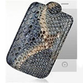 Genuine Leather Snake Embossed Grey Colour Smart Phone Cover