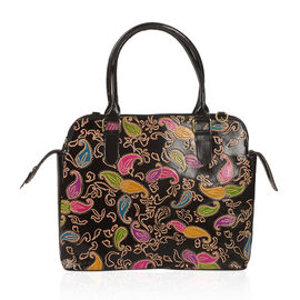 100% Genuine Leather Black and Multi Colour Handpainted Paisley RFID Blocker Tote Bag with External Zipper Pocket (Size 35x32x28x14 Cm)