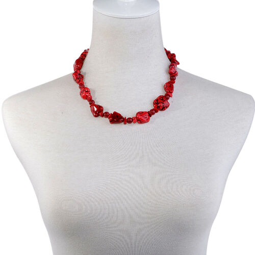 Red Howlite, Red Quartzite Necklace (Size 18 with Extender) and Bracelet (Size 7.50) in Stainless Steel 83.000 Ct.