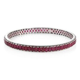 Designer Inspired- AAA African Ruby (Ovl) Bangle (Size 8 Extra Large) in Platinum Overlay Sterling Silver 20.750 Ct.