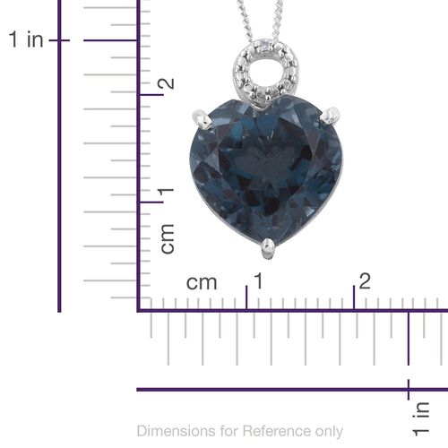 Indicolite Quartz (Hrt), Diamond Pendant With Chain in Platinum Overlay Sterling Silver 8.500 Ct.