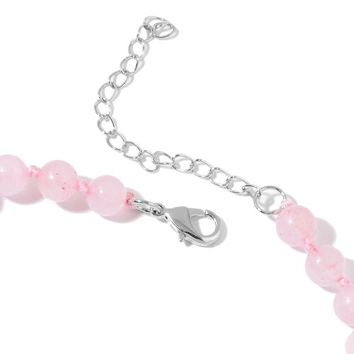 Rose Quartz Heart Necklace (Size 20) in Silver Tone 257.000 Ct.