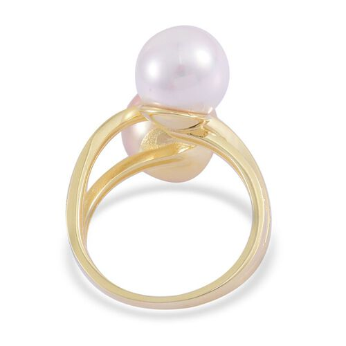 White Shell (Rnd), Golden Shell Pearl Ring in Yellow Gold Overlay Sterling Silver 15.450 Ct.
