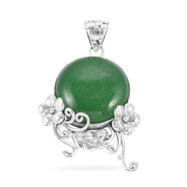 Royal Bali Collection Green Jade (Rnd) Floral Pendant in Sterling Silver 23.050 Ct.