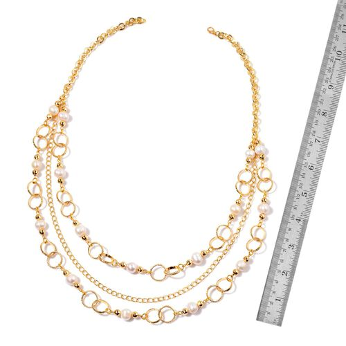 Fresh Water White Pearl Necklace (Size 26) in Gold Tone