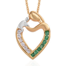 Natural Cambodian Zircon, Kagem Zambian Emerald Mother and Child Love Pendant with Chain in Platinum Plated Silver 0.50 Carat