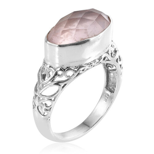 Rose Quartz (Ovl) Solitaire Ring in Sterling Silver 5.350 Ct.