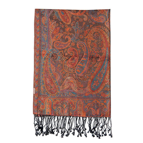 SILK MARK- 100% Superfine Silk Orange and Black Colour Jacquard Jamawar Shawl with Paisley Motifs and Fringes (Size 185x70 Cm) (Weight 125 - 140 Grams)