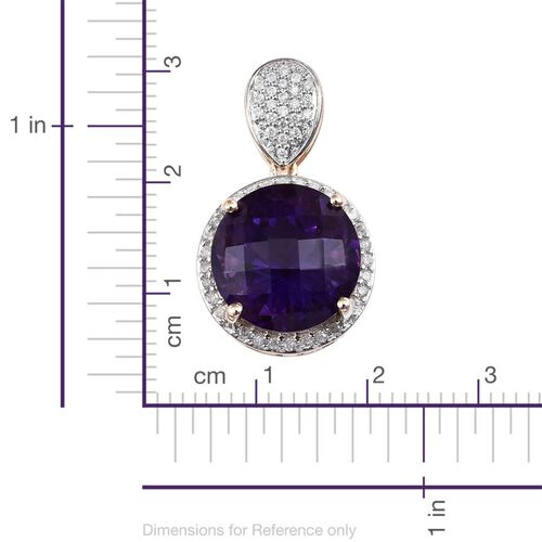 Limited Available-9K Y Gold Rare Cut AAAA Zambian Amethyst (Rnd 8.45 Ct), Diamond Pendant 8.750 Ct.