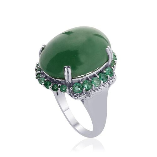 Emerald Quartz (Ovl 19.00 Ct) Kagem Zambian Emerald and Diamond Ring in Platinum Overlay Sterling Silver  20.010 Ct.