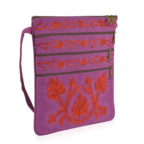 Purple and Red Colour Hand Embroidered Floral and Leaves Pattern Sling Bag with External Zipper Pocket (Size 26X22 Cm)