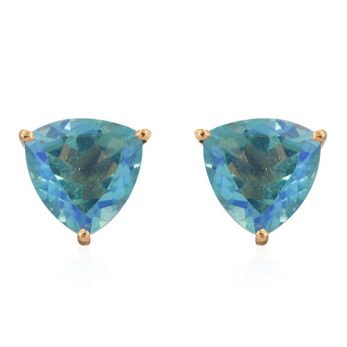 Peacock Quartz (Trl) Stud Earrings (with Push Back) in 14K Gold Overlay Sterling Silver 7.250 Ct.