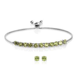 Hebei Peridot (Rnd) Adjustable Bracelet (Size 6.5 to 8.5) and Stud Earrings (with Push Back) in Platinum Overlay Stainless Steel 4.000 Ct.