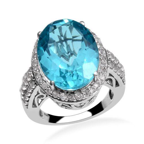 Capri Blue Quartz (Ovl 9.50 Ct), White Topaz Ring in Platinum Overlay Sterling Silver 10.750 Ct.