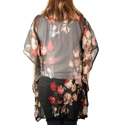 Black, Red and Multi Colour Bunch of Floral Printed V-Neck Kaftan (Free Size)