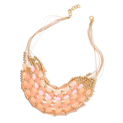 Simulated Rose Quartz and Multi Colour Beads Necklace (Size 21 with 2 inch Extender) in Yellow Gold Tone