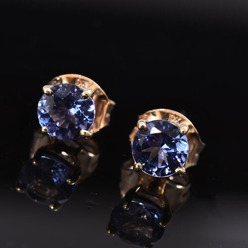1 Carat AA Tanzanite Stud Earrings in 9K Gold (with Push Back)
