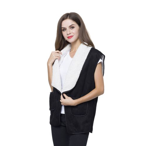 New Season - Black Colour Drape Collar Sherpa Style Gilet (Size 80X50 Cm) with Pockets (Size 14X12 Cm)