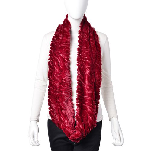 Designer Inspired - Wine Red Colour with Sequins Faux Fur Infinity Scarf (Size 77x18 Cm)
