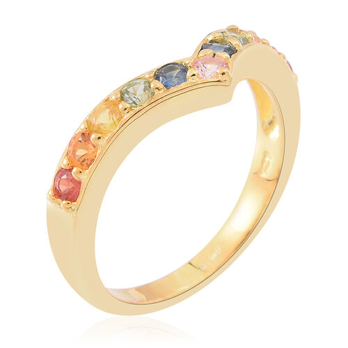 Rainbow Sapphire (Rnd) Wishbone Ring in 14K Gold Overlay Sterling Silver 1.000 Ct.