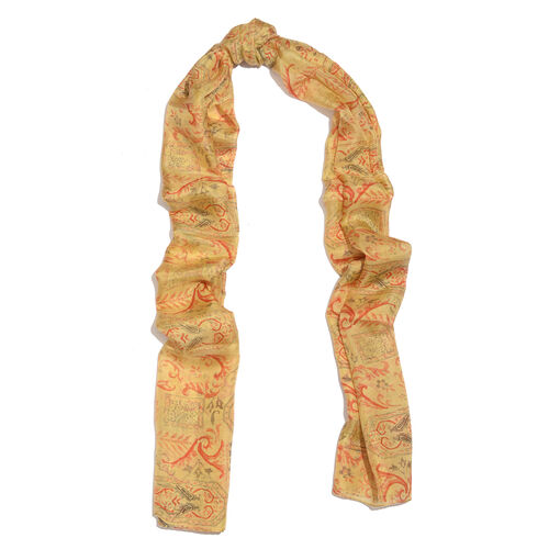 100% Mulberry Silk Gothic Printed Yellow Colour Scarf (Size 180x50 Cm)
