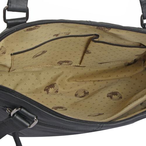 Top Grain Genuine Leather RFID Blocker Classic Black Colour Multi Pockets Big City Tote (Size 37X27X10 Cm)