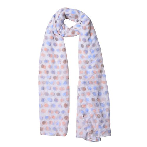 Orange, Blue and Multi Colour Round Circle Point Pattern White Colour Scarf (Size 180x90 Cm)