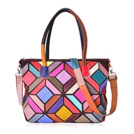(Option 1) Designer Inspired - 100% Genuine Leather Multi Colour Mosaic Art Inspired Tote Bag with External Zipper Pocket and Adjustable Shoulder Strap (Size 40X33.5X28X12 Cm)