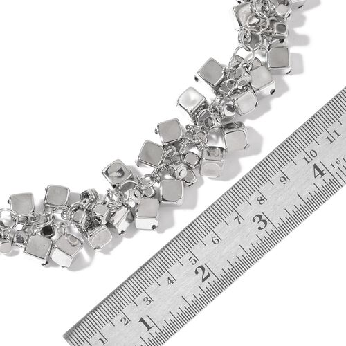 Cluster of Cube Shape Charms Necklace (Size 22 with 3 inch Extender) in Silver Tone