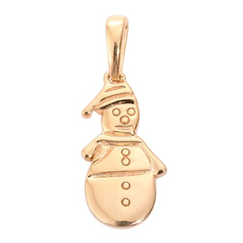 Set of 2 - Platinum and Yellow Gold Overlay Sterling Silver Snowman Pendant