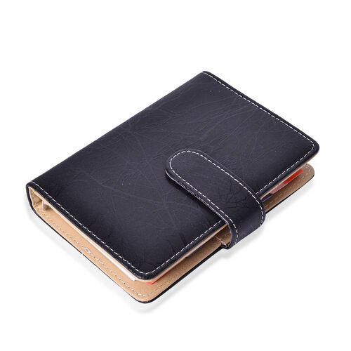 Black Colour Note Book (Size 14.5x10.5x2 Cm), Black Pen with Blue Refill and Football Key Chain in Silver Tone