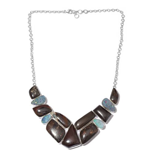 One Off A Kind- Boulder Opal Rock and Opal Double Necklace (Size 18 with 1 inch Extender) in Sterling Silver 227.550 Ct. Silver wt 33.49 Gms.
