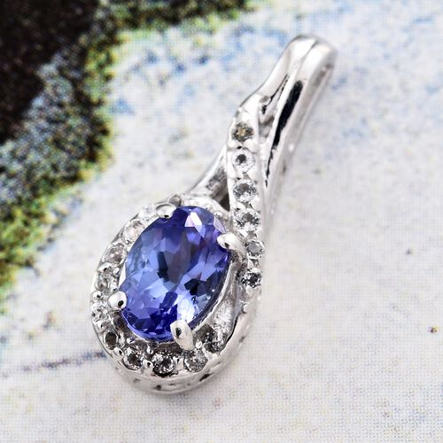 Tanzanite (Ovl 0.50 Ct), White Topaz Pendant in Platinum Overlay Sterling Silver 0.600 Ct.