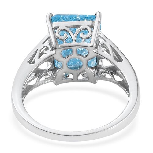 Blue Crackled Quartz (Oct) Solitaire Ring in Platinum Overlay Sterling Silver 6.000 Ct.