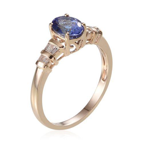 9K Y Gold Tanzanite (Ovl 1.30 Ct), Diamond Ring 1.500 Ct.