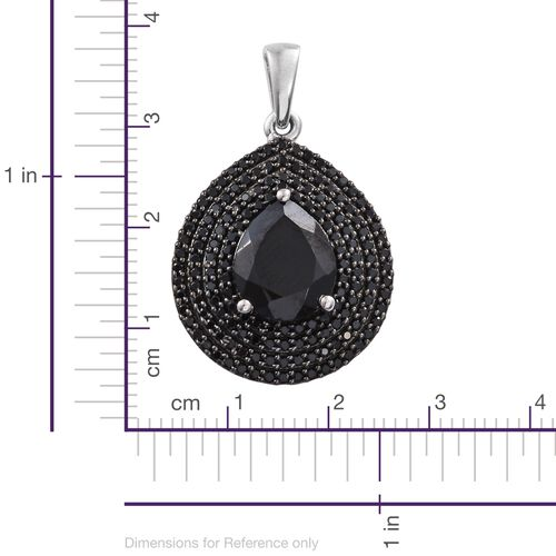 Boi Ploi Black Spinel (Pear 5.75 Ct) Pendant in Platinum Overlay Sterling Silver 8.750 Ct. No. of Stone 153pcs